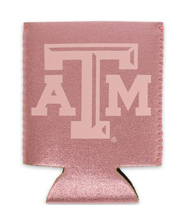 Texas A&M Rose Gold Metallic Koozie - Front ROSE GOLD
