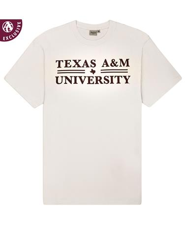 Texas A&M Double Bar Basic T-Shirt - Off White - Front Off White AH