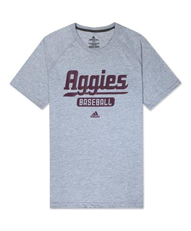 Texas A&M Adidas Baseball Script Sweep T-Shirt - Front Silver