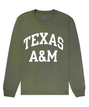 Texas A&M Champion Block Long Sleeve Tee - Cargo Olive - Front CARGO OLIVE