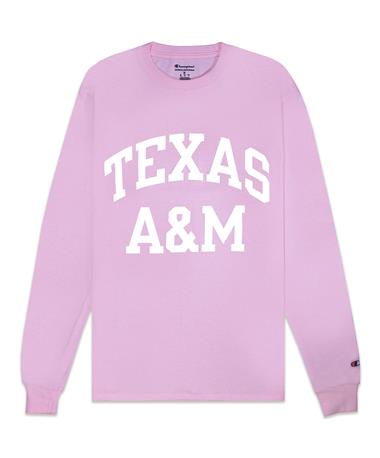 Texas A&M Champion Block Long Sleeve Tee - Feather Pink - Front FEATHER PINK
