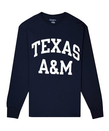 Texas A&M Champion Block Long Sleeve Tee - Navy - Front NAVY