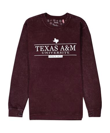Texas A&M University Corded Crew - Maroon - Front MAROON