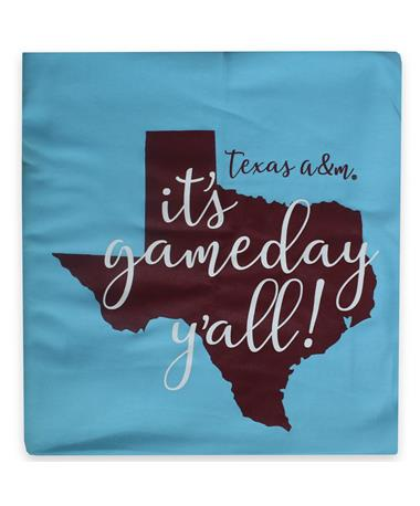 Texas A&M Pro-Weave Sweatshirt Fleece Blanket - Front - Folded CALI BLUE