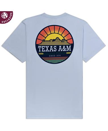 Texas A&M Sunrise Skyline T-Shirt - Back AH Sky