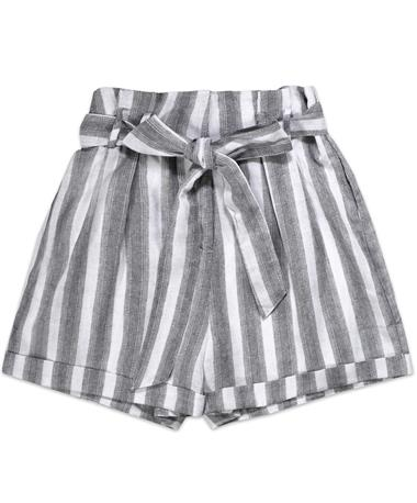 High Waisted Striped Women`s Shorts - Front CHARCOAL