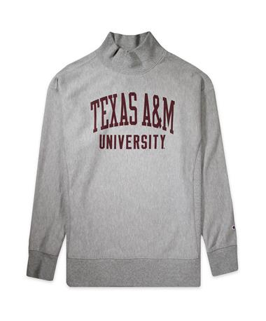 Texas A&M Champion Women`s Reverse Weave Terry Pullover - Oxford Heather - Front Oxford Heather