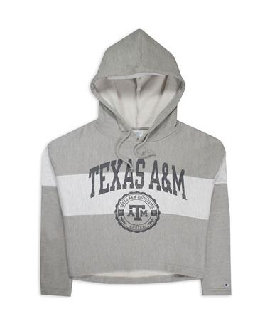 Texas A&M Champion Crop Hoodie - Front Grey