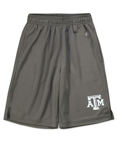 Texas A&M Champion Youth Mesh Shorts - Grey - Front Grey