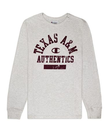 Texas A&M Champion Rochester Slub Long Sleeve - Front Oatmeal Heather