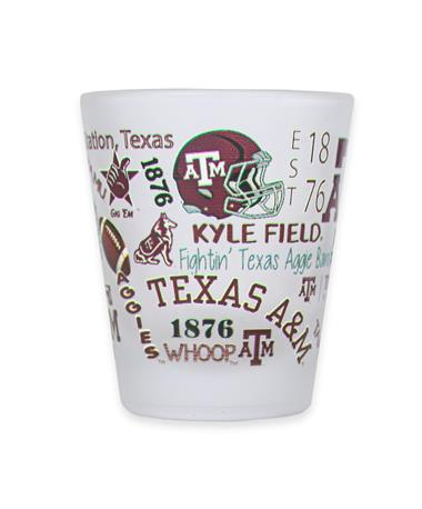 Texas A&M Aggies Frosted Shot GlassHelmet WHITE