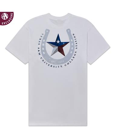 Texas A&M Texas Horseshoe Star T-Shirt - Back White