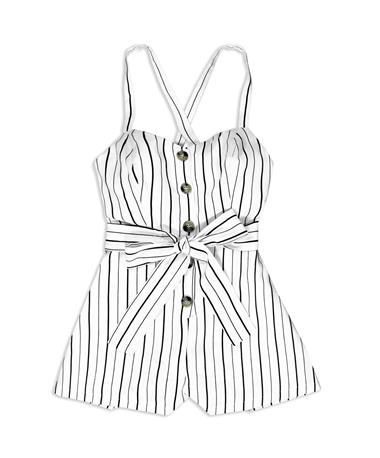 Black & White Belted Romper - Front OFF WHITE/BLACK