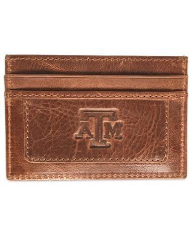Texas A&M Sierra Money Clip Card Holder - Front TAN