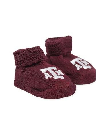 Texas A&M Applique Baby Booties Maroon