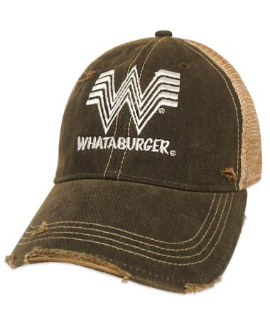 Whataburger Vintage Meshback Cap - Front BLACK/WHITE