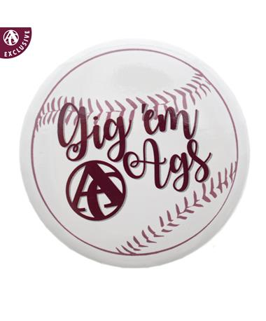 Texas A&M Gig 'Em Ags Baseball Button