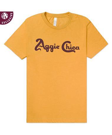 Texas A&M Aggie Chica T-Shirt - Front 3001CVC Mustard