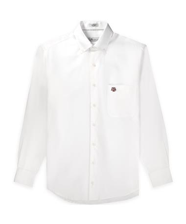 Texas A&M Peter Millar Crown Pinpoint Woven Button Down White