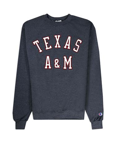 Texas A&M Champion Powerblend Fleece Crew - Front GRANITE