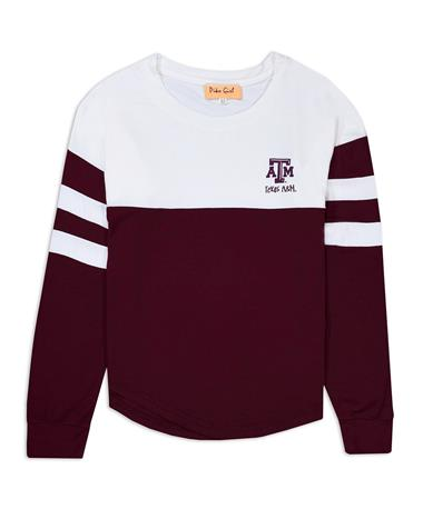 Texas A&M Girls Color Block Long Sleeve - Front Maroon/White