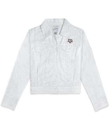 Texas A&M Tommy Bahama Two Palms Raw Edge Jacket - White - Front White