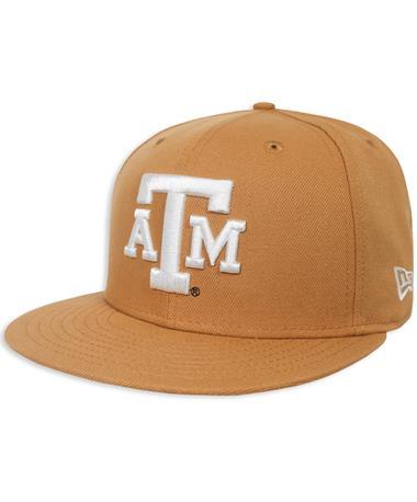 Texas A&M New Era Flat Bill Snapback - Front Tan