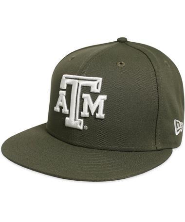 Texas A&M New Era Beveled Flat Bill Snapback - Olive - Front Olive