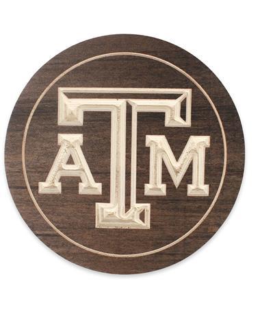 Texas A&M Wooden Trivet - Front BROWN