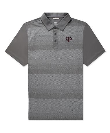 Texas A&M Cutter & Buck Crescent Chiseled Polo - Elemental Grey - Front Elemental Grey