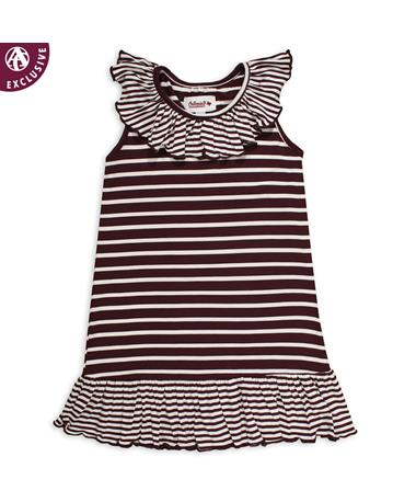 Maroon & White Striped Infant/Toddler Dress - Front Maroon/ White
