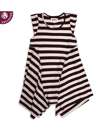 Maroon & White Striped Kids Round Neck Dress - Front Maroon/ White