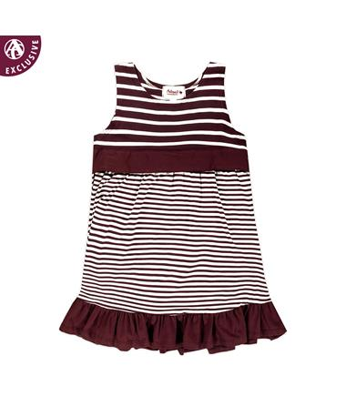 Maroon Toddler Striped Ruffle Dress