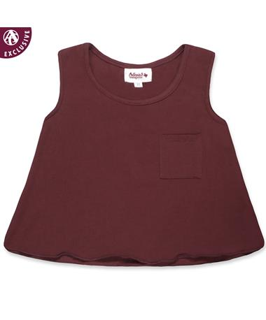 Maroon Toddler Girls Pocket Tank Top - Front Maroon