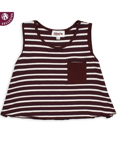 Maroon & White Striped Toddler Pocket Tank - Front Maroon/ White