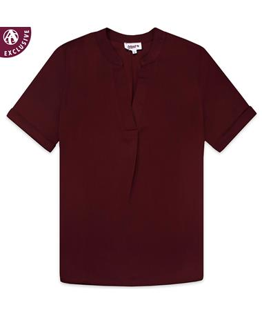 Maroon Women's V-Neck Blouse