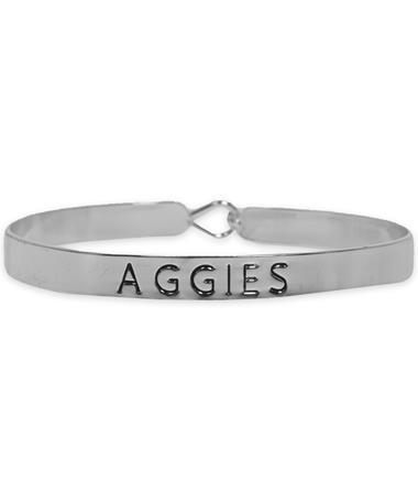 Texas A&M Aggies Silver Bangle - Front Silver