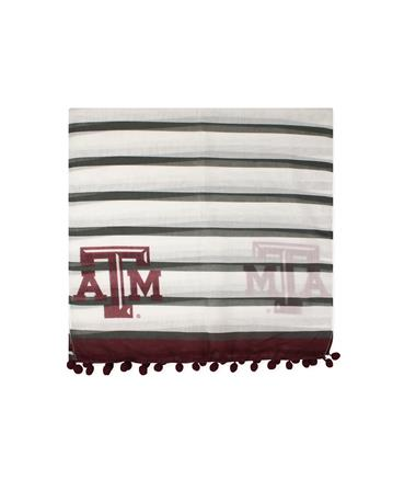 Texas A&M Dylan Striped Scarf - Folded MAROON/CHARCOAL