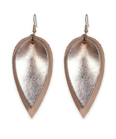 Pink & Rose Gold Leather Teardrop Earrings - Front Pink