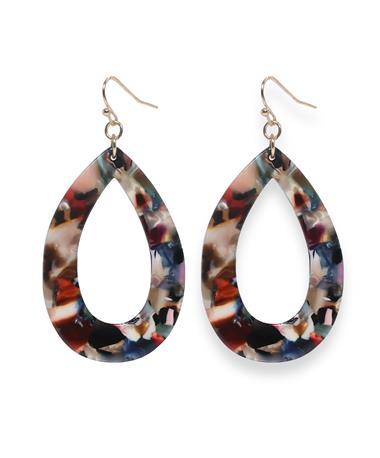 Multi-Color Acrylic Open Teardrop Earrings Multi