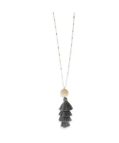 Grey Fabric Tassel Gold Necklace Grey