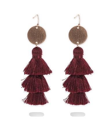 Maroon Tassel Earrings - Pair Maroon