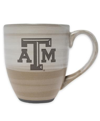 Texas A&M Reactive Color Clay Ceramic Mug - Front TAN