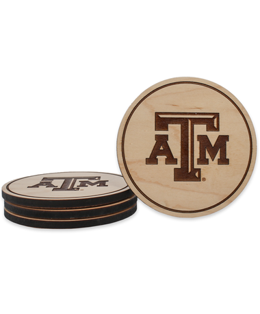 Texas A&M Beveled Logo Maple Coasters - Front MAPLE