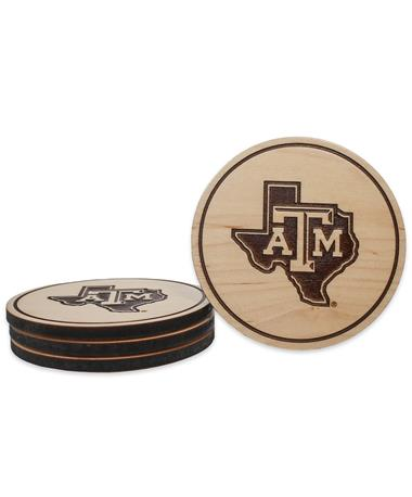 Texas A&M Lone Star Maple Coasters - Front BROWN