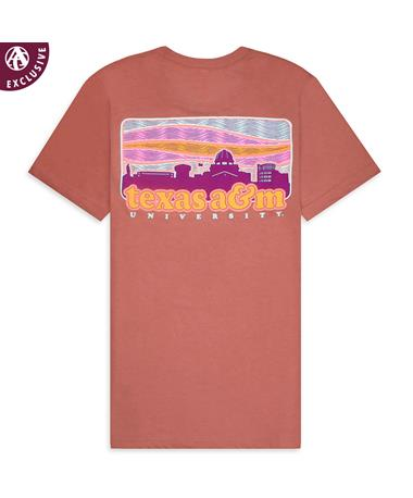 Texas A&M Love This Place Skyline T-Shirt - Back 3413C Mauve Triblend