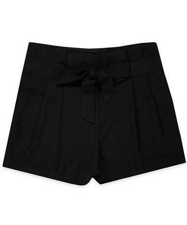 Black Woven Shorts - Front BLACK