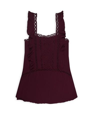 Maroon Flowy Babydoll Dress - Front Wine
