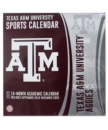 Texas A&M Aggies 2020 16-Month Football Calendar - Front Maroon/ White