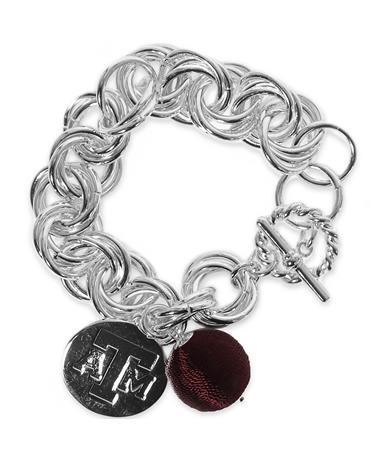 Texas A&M Viola Silver Bracelet - Front Silver